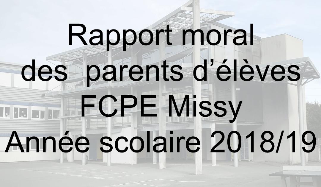 Rapport Moral Année 2018 -2019