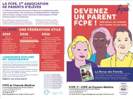 Adhésion 2020 – 2021 FCPE